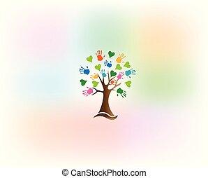 Tree hands love hearts logo