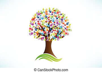 Tree hands print love hearts logo