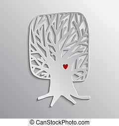 Tree heart concept cutout design for nature help