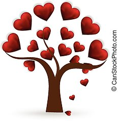 Tree heart love icon template vector