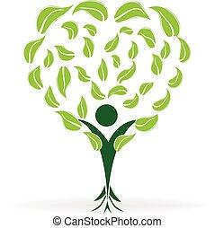 Tree heart shape ecology logo