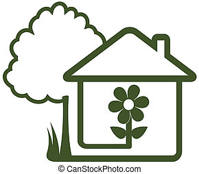 tree, house, flower and home garden - isolated sign with...