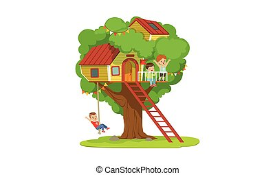 Tree House for Kids, Boys Playing and Having Fun in Treehouse, Kids Playground with Swing and Ladder Vector Illustration
