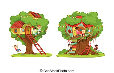 Tree House for Kids Collection, Boys and Girls Playing and Having Fun in Treehouse, Kids Playground with Swing and Ladder Vector Illustration