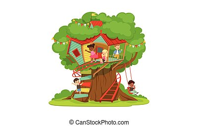 Tree House for Kids, Cute Happy Boys and Girls Playing and Having Fun in Treehouse, Kids Playground with Swing and Ladder Vector Illustration