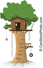 Illustration of a cartoon tree house in big oak isolated on white background