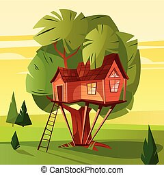 Tree house in forest vector illustration