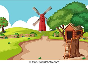 Tree house in the farm scene with windmill