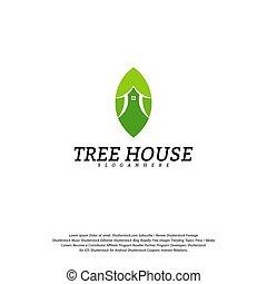 Tree House logo vector template. Leaf House logo