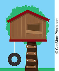 Tree House  - Tree house with tire swing