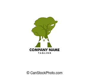 Tree House Vector Logo Template