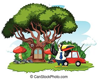 Tree house with cute bird cartoon style on white background
