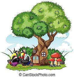 Tree house with three bird cartoon style on white background