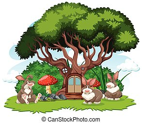 Tree house with three rabbit cartoon style on white background