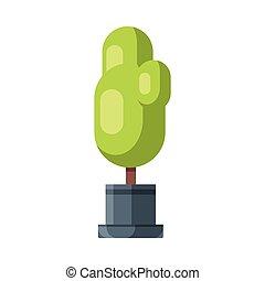 Tree Houseplant in Flowerpot, Design Element for Natural Home or Garden Decoration Vector Illustration