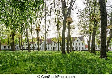 Tree Houses in the Begijnhof in Bruges