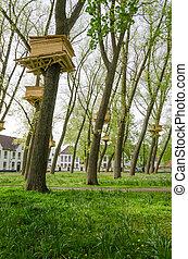 Tree Houses in the Beguinage (Begijnhof) Garden in Bruges