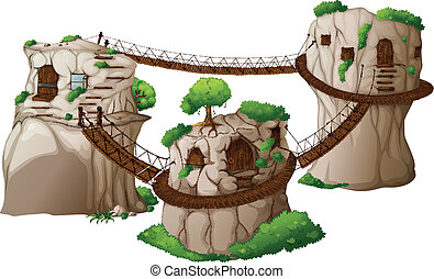 Tree houses with hanging bridges - Illustration of the tree...