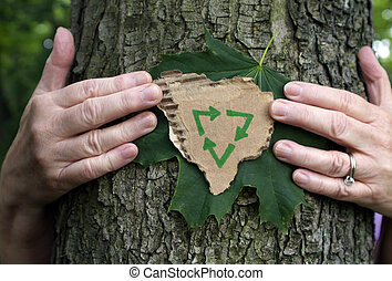 Tree hugger - Environmental Person hugging tree holding...