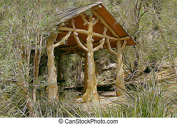 Tree Hut in the wilderness. This is a photo that has been...