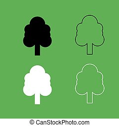 Tree icon  Black and white color set