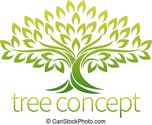 Tree Icon Concept - A stylised tree icon symbol concept ...