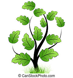 Green tree icon with grass and leaf