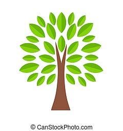 Tree icon in cartoon style, stock vector illustration