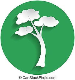 Tree icon in paper style