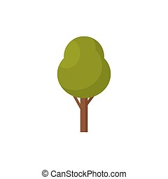Tree icon isolated. Vector illustration. Green tree on white background.