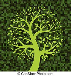 Tree icon on Green Pixel Background