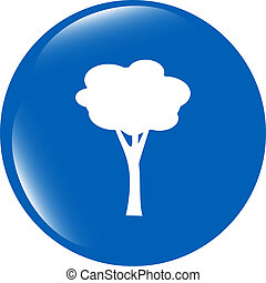 Tree Icon on Round Black Button Collection Original Illustration