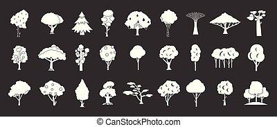 Tree icon set grey vector
