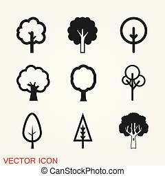 Tree icon vector, naturally beautiful symbol on background