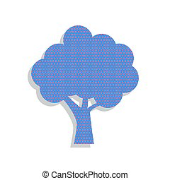 Tree icon. Vector. Neon blue icon with cyclamen polka dots patte