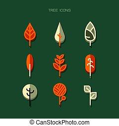 tree Icons modern. Orange white vector on green background