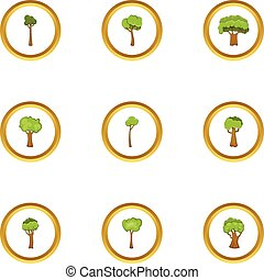 Tree icons set, cartoon style
