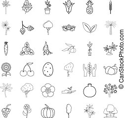 Tree icons set, outline style
