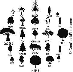 Tree icons set, simple style