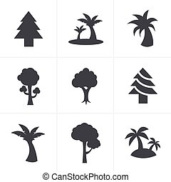 Tree Icons Set, Vector Design
