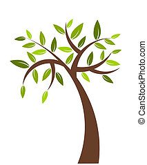 Tree illustration - Symbolic tree with green leaves - vector...
