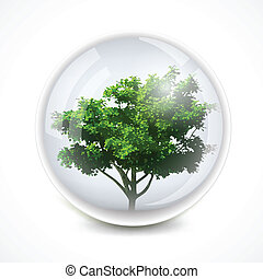 Tree in a bubble. Vector ecology background