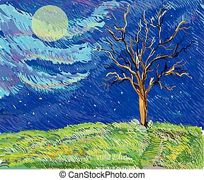tree in a field sketch landscape in van gogh style