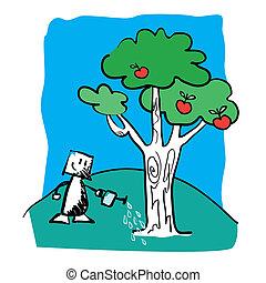 tree in a garden. Vector illustrati
