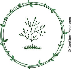 Tree in a green wreath. Ecological symbol of nature conservation. Vector.