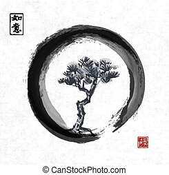 Tree in black enso zen circle. Traditional Japanese ink...