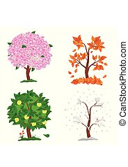Tree in four seasons - spring, summer, autumn, winter. Collection of Apple trees isolated on white background. Trees with green and orange leaves, flowers and snow on the branches. Vector illustration