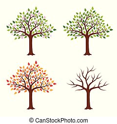 Tree in four seasons - spring, summer, autumn, winter. Isolated on white background.