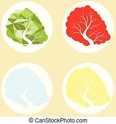 Tree in four seasons - spring, summer, autumn, winter. Vector illustration