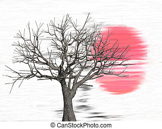 Tree in front of a sunset